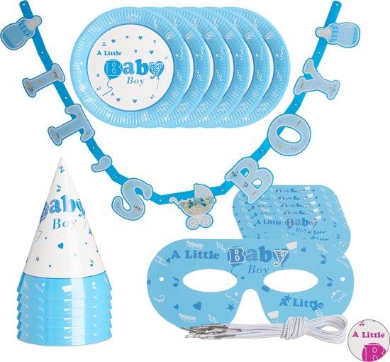 relaxdays babyshower versiering - 19-delige set - geboortefeest decoratie - 6 personen light Blue
