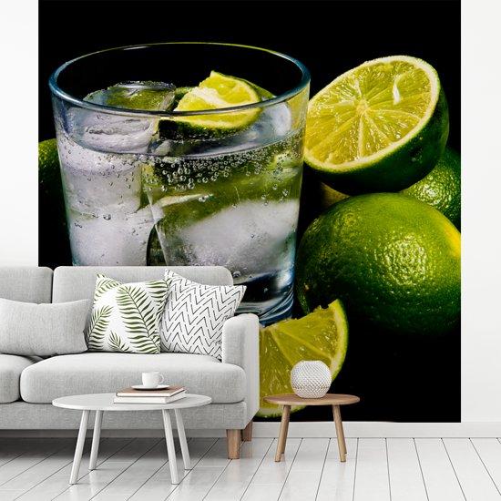 Fotobehang vinyl - Glas gin en tonic op ijs omgeven door limoenen breedte 300 cm x hoogte 300 cm - Foto print op behang (in 7 formaten beschikbaar)