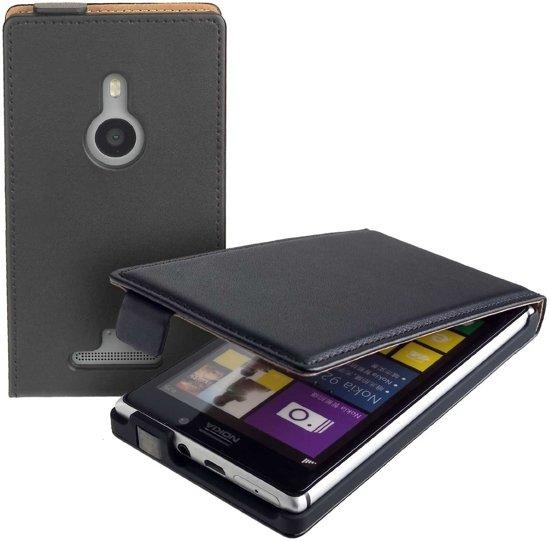 Lelycase Zwart Eco Leather Flip Case Nokia Lumia 925 in Halfweg