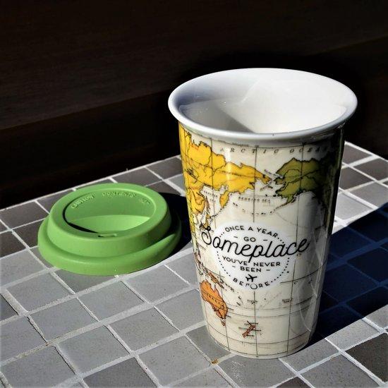 Dubbelwandig Wereldkaart Tas Met Of Thee Koffie Motief 4j3R5LqA