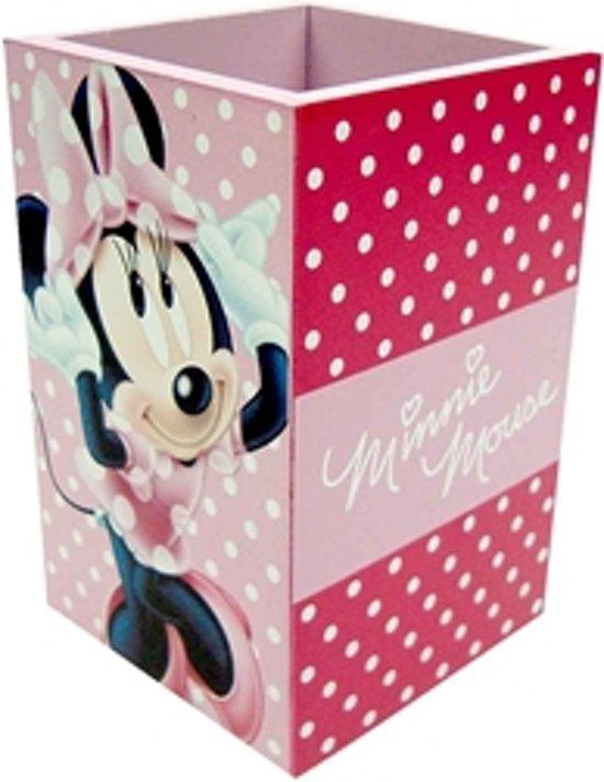 Minnie Mouse houten pennenhouder roze