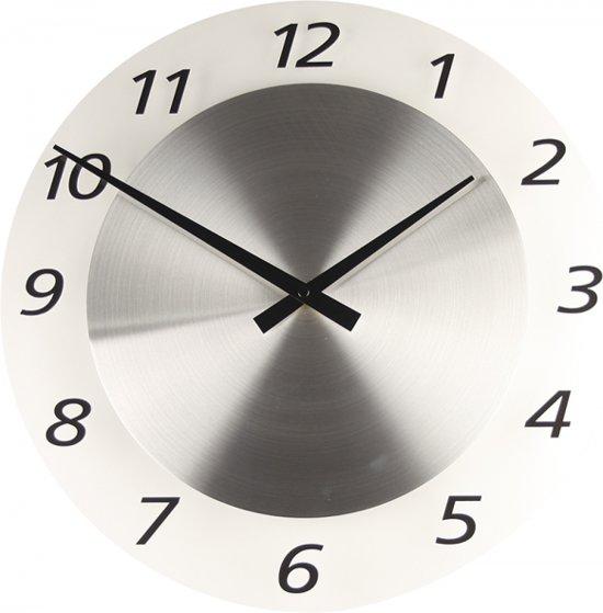 TTD Brushed Glass Transparant *Stil* - Klok - Rond - Glas - Ø 40 cm -Stil uurwerk