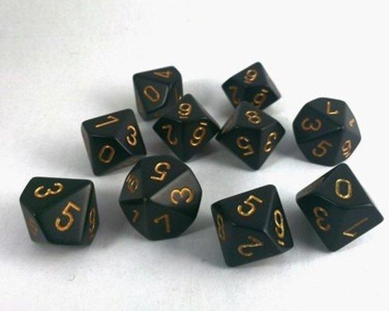 Afbeelding van het spel 10 Vlakken Tienzijdige Dobbelstenen Zwart met Goud 16mm Set van 6 Stuks