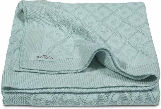 Jollein wiegdeken 75x100cm Diamond knit vintage green Wiegdeken 75x100cm Diamond knit vintage green