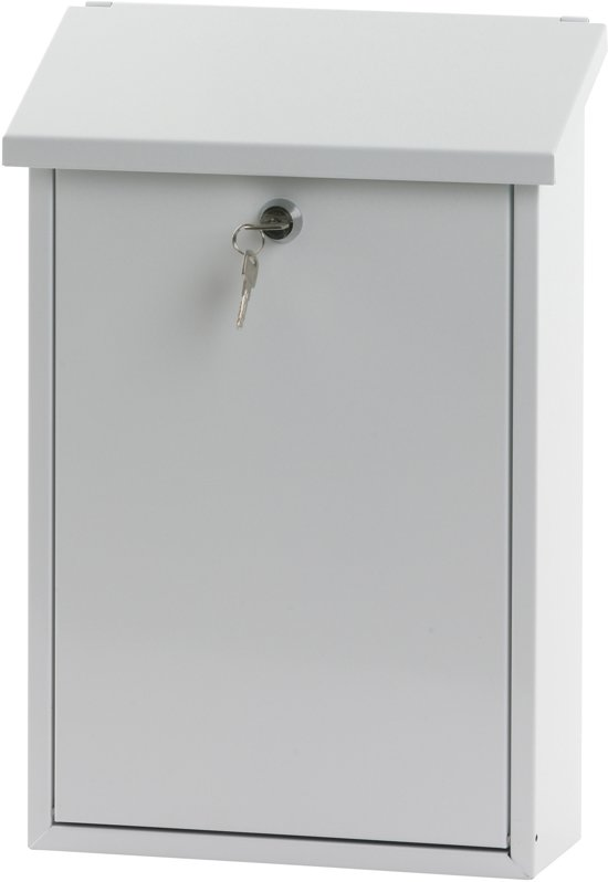 Stalen brievenbus wit -27x12x40 cm