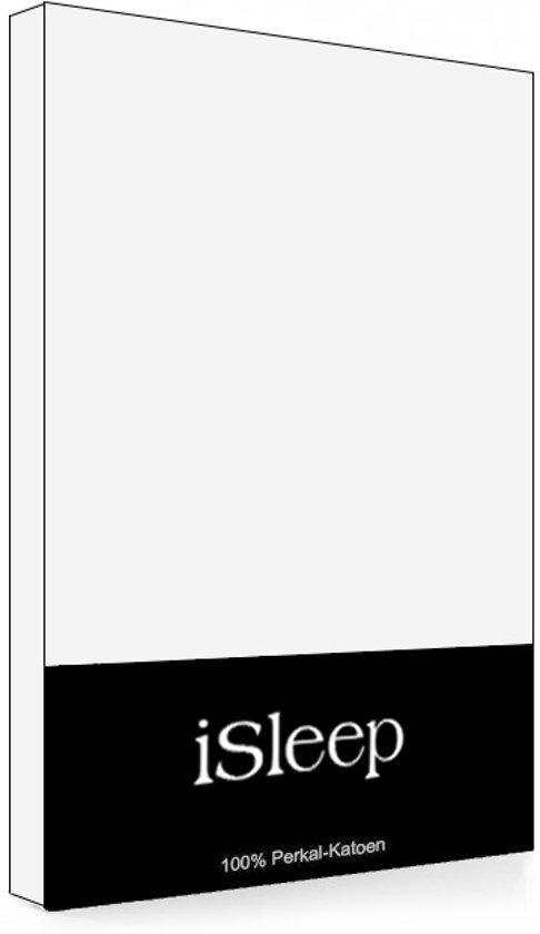 iSleep Perkal Topper Hoeslaken - Tweepersoons - 160x220 cm - Wit