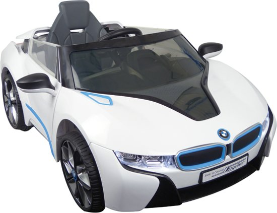 Elektrische Kinder Accu Auto BMW i8 Wit met afstandsbediening