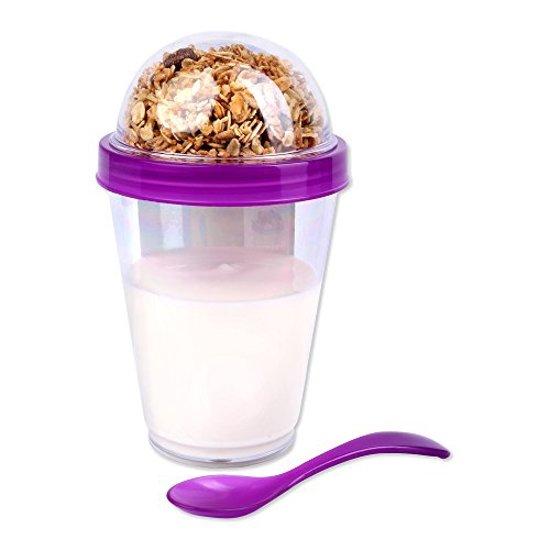 Yoghurt bewaarbeker incl lepel | Muesli beker | Beker met deksel + Lepel | Take-away-cup | Yoghurt 2 go cup | Paars