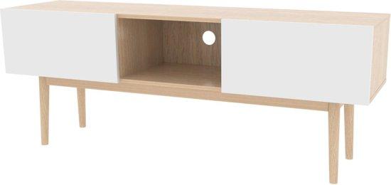 Bowl tv meubel met 2 deuren, eiken fineer en wit.