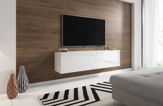 Zwevend Tv Meubel Hoogglans Wit Led Verlichting Clean Design
