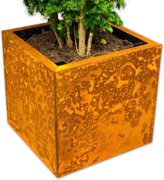 Yoepplanter Plantenbak  - 3x Innovatie: Koppelbare Verrijdbare en Wisselbaar Design - Grote Bloembak Bloempot Plantenpot - Binnen Buiten Tuin Terras Balkon en Huiskamer - Groot 40x40x40 Vierkant  Corten-Staal