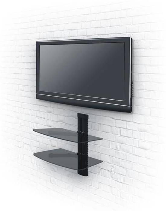Zwevende Plank Onder Tv.Bol Com Televisiebeugel Muurbeugel 2 Glazen Zwevende Planken