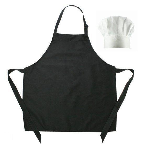 Benza Kinderschort met koksmuts - Zwart - 50 x 60 cm