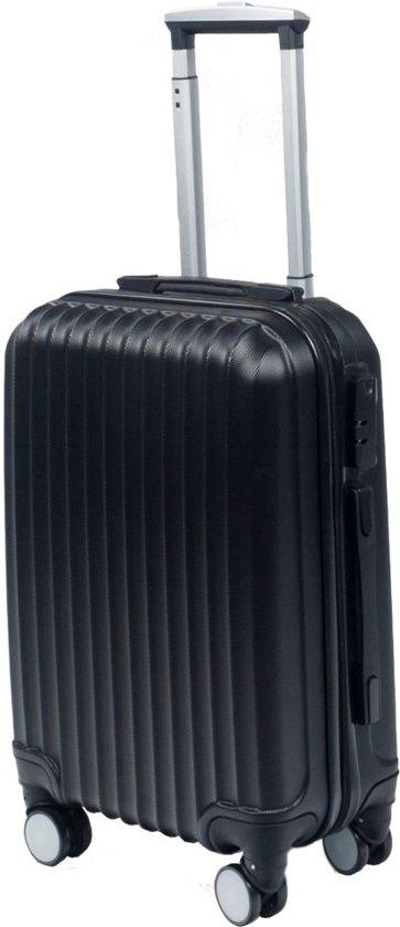 Handbagage koffer 55cm zwart 4 wielen trolley met pin