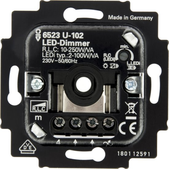 busch jaeger 6523u led dimmer 230v fase aansnijding 2w 100w. Black Bedroom Furniture Sets. Home Design Ideas