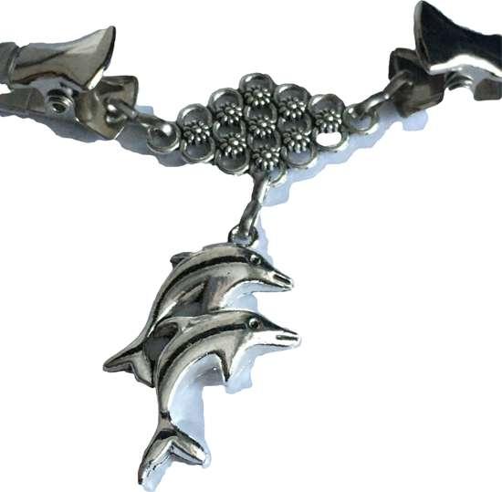 Petra's Sieradenwereld - Vestclip zilverkleurig dolfijntjes (74)