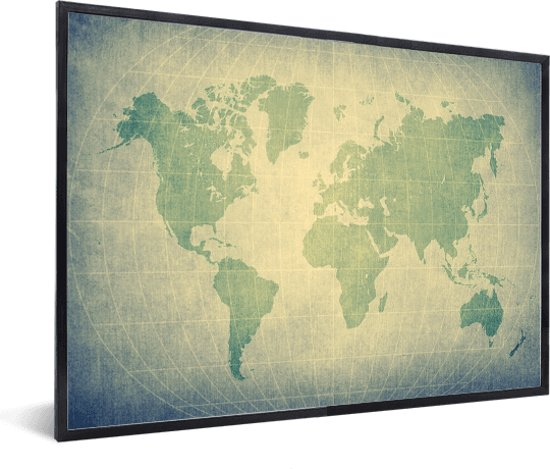 Wereldkaart modern groen  in lijst wit 40x30 cm