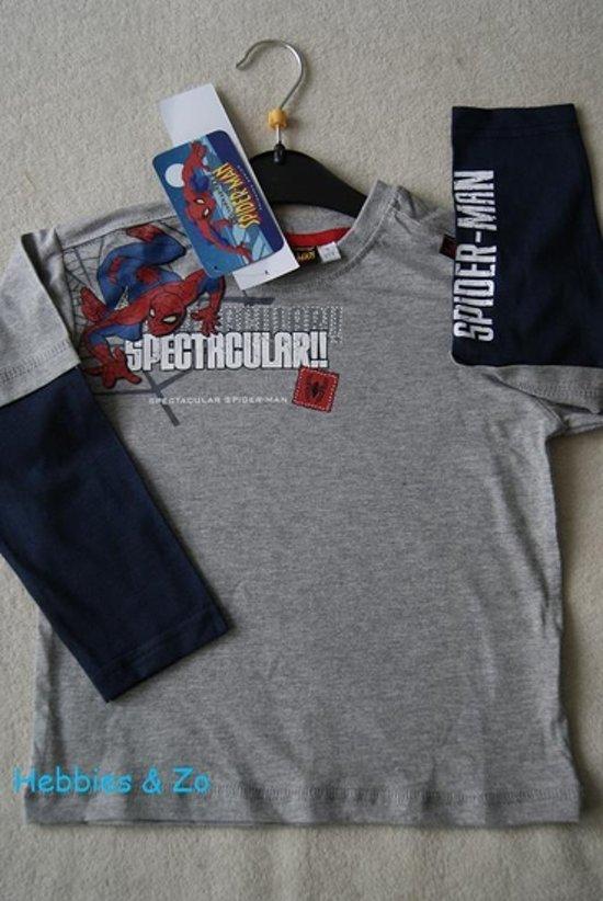 Spiderman Longsleeve Shirt Grijs Maat 104