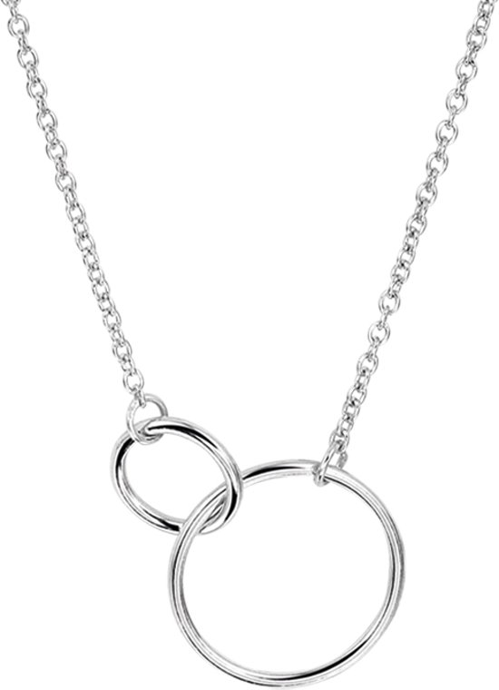 The Jewelry Collection Ketting Rondjes  - Dames - Zilver - 45 cm