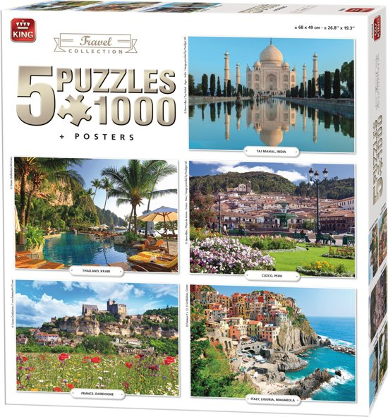 King 5 in 1 Puzzel 1000 Stukjes (68 x 49 cm) - Travel Collectie - Vijf Legpuzzels met Voorbeeldposters - Volwassenen