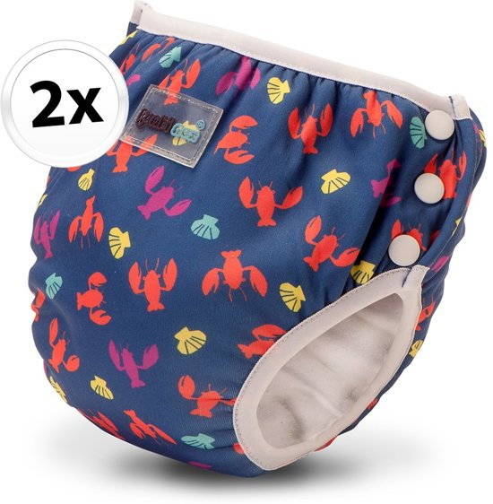 Bambinex wasbare zwemluier en oefenbroekje - 2 stuks - Lobster - maat M