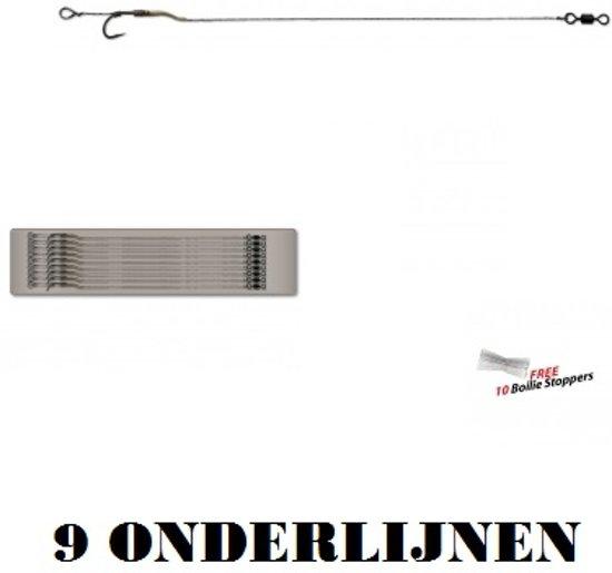 Piet Vogel - 995 Line Aligner Hair Rig - Haakmaat 4 - 25 Lb - 9 stuks - Gratis Boilie Stoppers