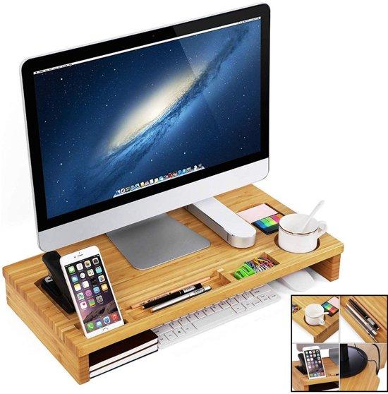 Monitorstandaard van bamboe hout - Monitor / Laptop beeldscherm verhoger en bureau organizer – Monitorstandaarden 2 in 1 - Met vakje voor telefoon, beker en pennenbak - Monitorverhoger bureau standaard van Decopatent®