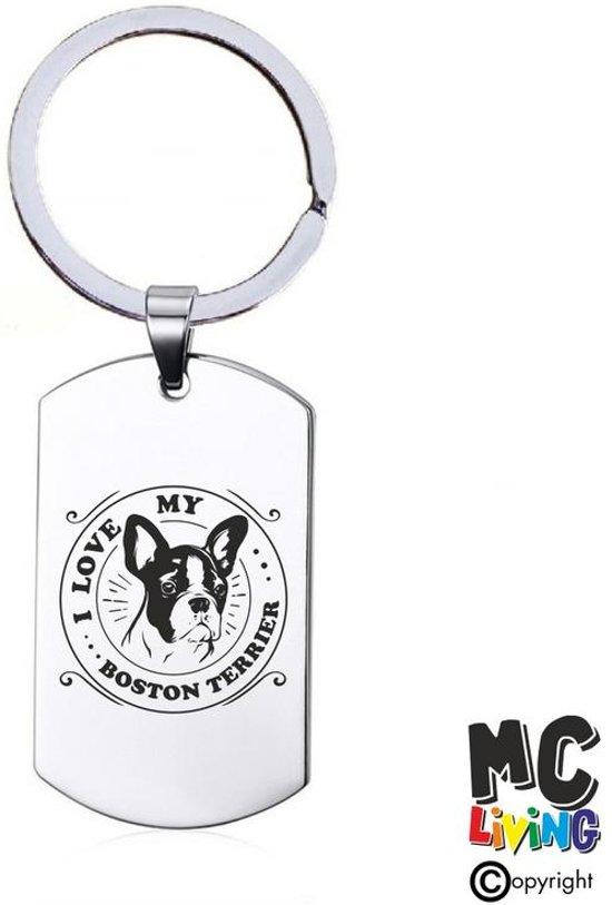 Sleutelhanger RVS - I Love My Boston Terrier