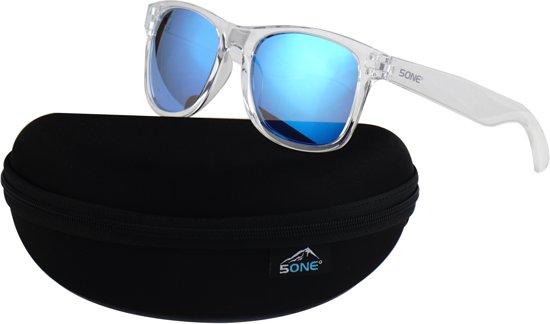 0749b981a68805 5one® Crystal Blue zonnebril - transparant frame - blauwe spiegellens