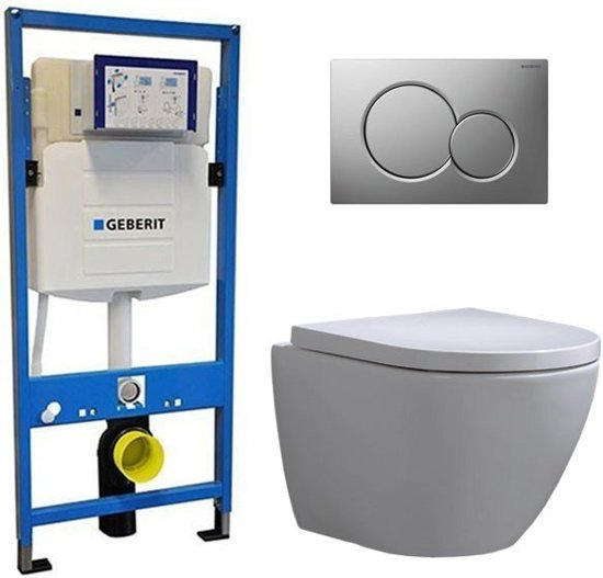 Geberit UP 320 Toiletset – Inbouw WC Hangtoilet Wandcloset – Shorty Sigma-01 Mat Chroom