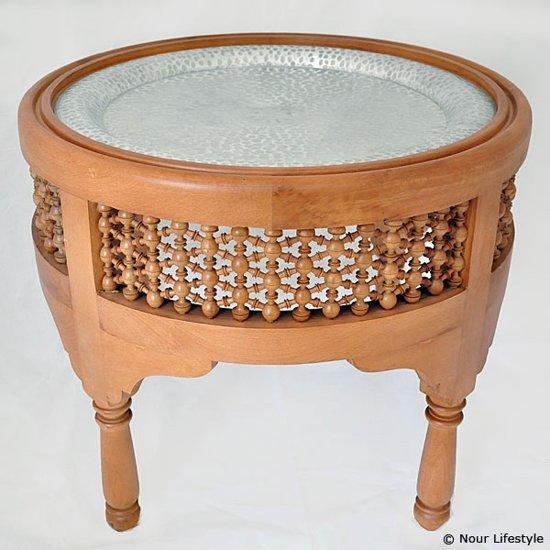 Nour Lifestyle ronde bijzettafel met Oosters houtsnijwerk en afneembaar dienblad ø 50 cm - maat L