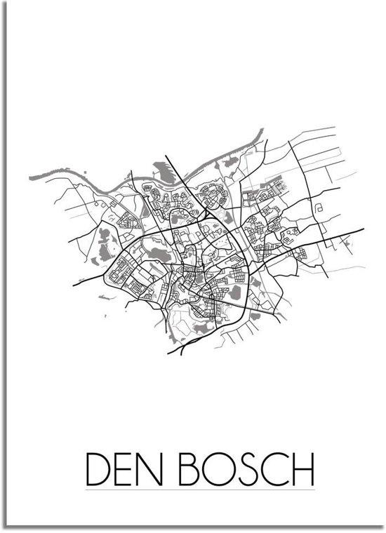 DesignClaud Den Bosch Plattegrond poster A4 + Fotolijst wit