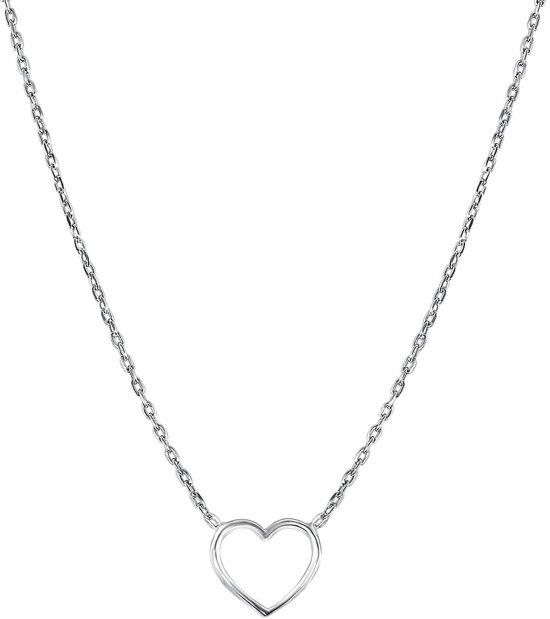 Lucardi Kettingen - Zilveren ketting rhodiumplated open hart