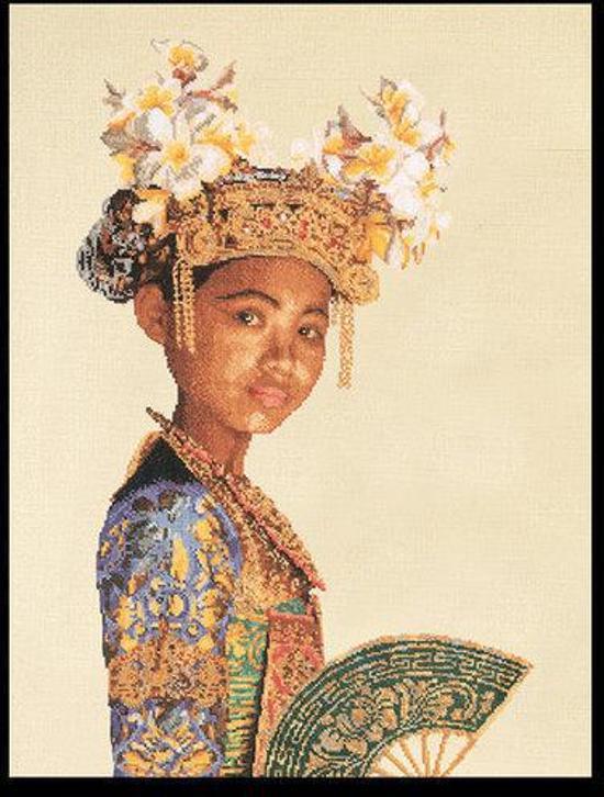 Thea Gouverneur Borduurpakket 947A Indonesische Danseres - Aida stof 100% katoen