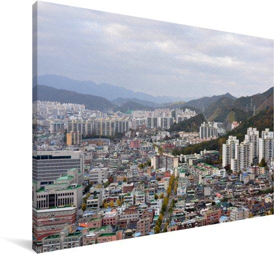 Uitzicht op de Aziatische stad Gwangju in Zuid-Korea Canvas 60x40 cm - Foto print op Canvas schilderij (Wanddecoratie woonkamer / slaapkamer) / Aziatische steden Canvas Schilderijen