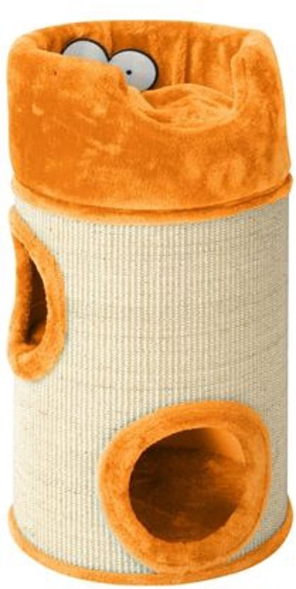 Cat dome de luxe met kussen 34x72cm oranje