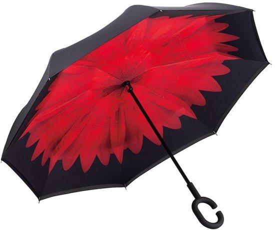 Powerplu - Binnenstebuiten Paraplu – Red Flower