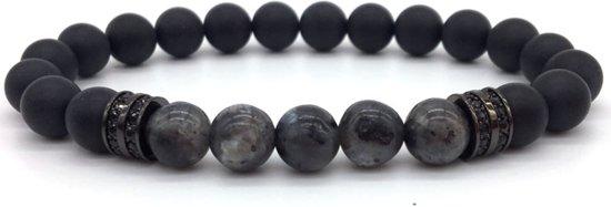 Victorious - Armband Zwarte Natuurstenen - Mat & Gepolijst - Zwarte Decoratie- Vanaf 17cm