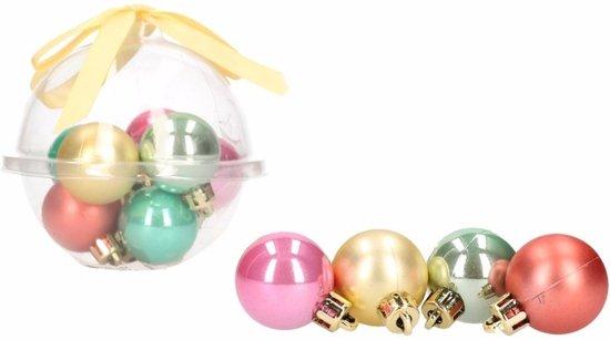 Bol Com 12 Delige Mini Kerstballen Roze Groene Rode Kunststof
