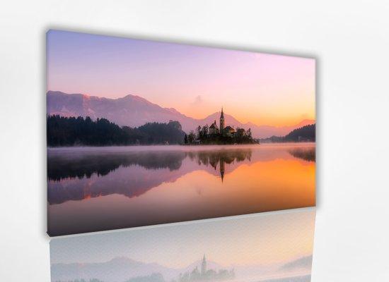 Lake View 60x40 cm, Canvas schilderij uitgerekt op het frame, 100% katoen, Wanddecoratie