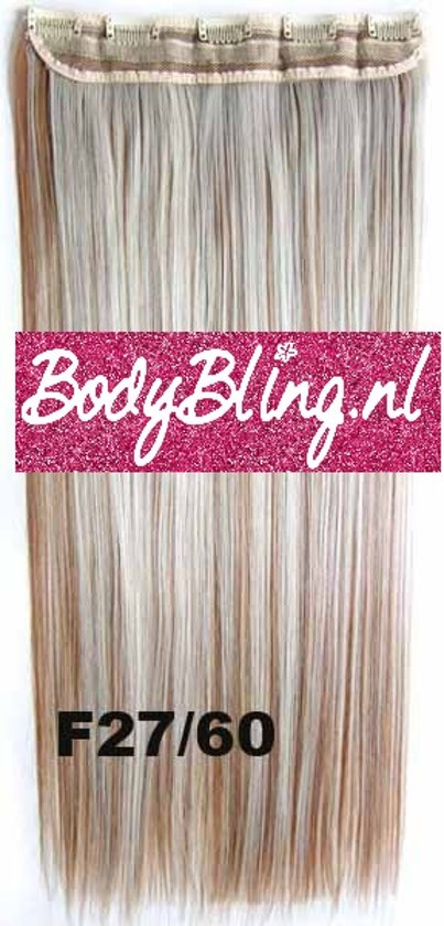 Clip in hair extensions 1 baan straight blond - F27/60