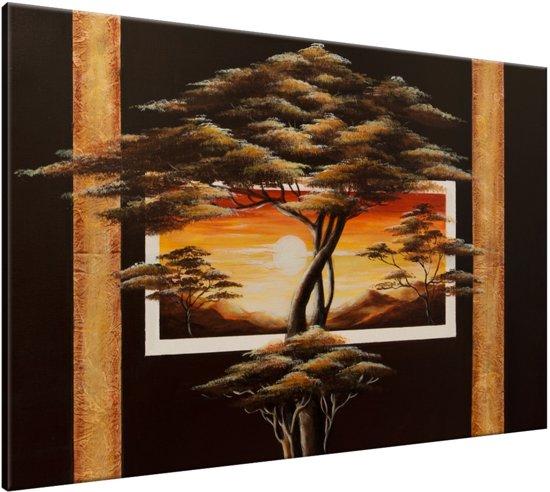 Schilderij handgeschilderd Boom | Bruin , Geel , Oranje | 120x70cm 1Luik