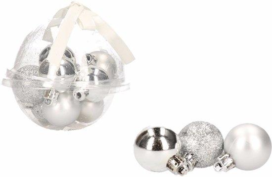 12-delige mini kerstballen set - kunststof / plastic