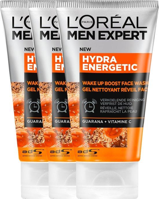 L'Oréal Men Expert Hydra Energetic Gezichtsreiniger - 3 x 100 ml - Voordeelverpakking