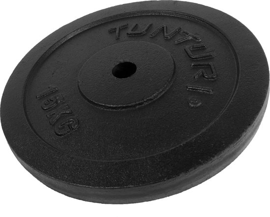 Tunturi Halterschijf - Halter gewichten - 1 x 15 kg - Ø 30 mm - Gietijzer