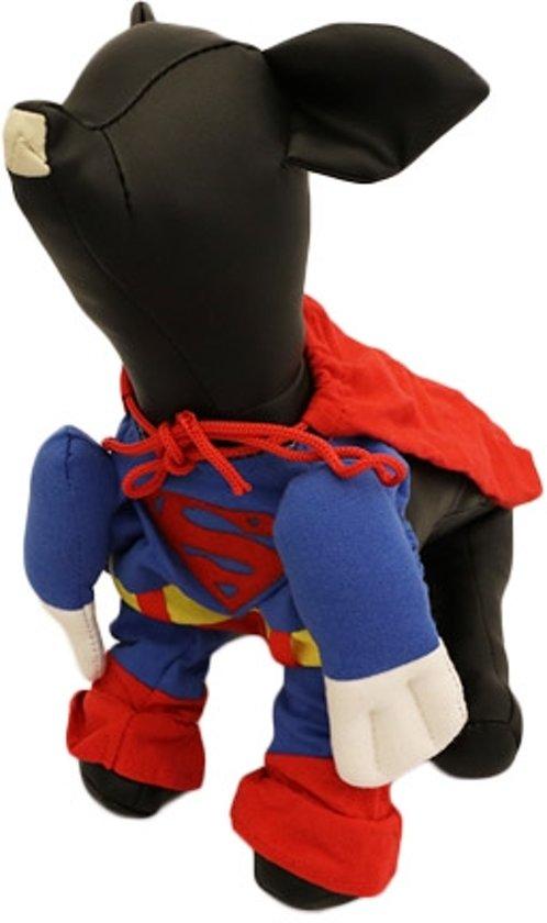 Superman kostuum voor de hond - L-S ( rug lengte 28 cm, borst omvang 40 cm, nek omvang 34 cm )