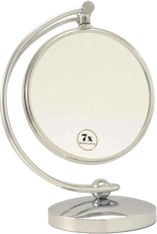 Grote Make-up Spiegel zilver Ø20cm/7x vergroting - Badkamer spiegel