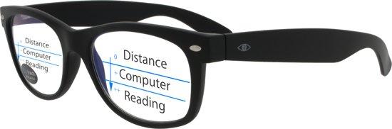 Icon Eyewear TAB013 +1.00 WayeFarer Multifocale Computerbril - BlueShields blauw licht filter lens - Zwart