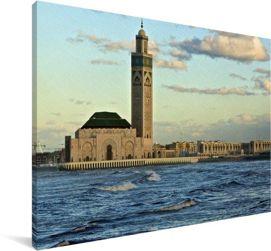 Hassan II-moskee over de oceaan in Casablanca Canvas 30x20 cm - klein - Foto print op Canvas schilderij (Wanddecoratie woonkamer / slaapkamer)