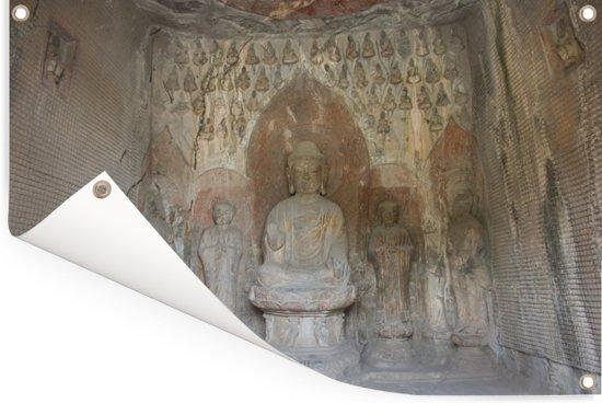 Schitterende muur architectuur in de Grotten van Mògāo Tuinposter 90x60 cm - Tuindoek / Buitencanvas / Schilderijen voor buiten (tuin decoratie)